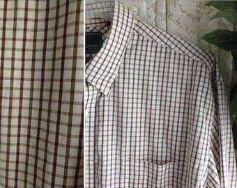 Vintage LONG SLEEVE SHIRT Men Size Extra Extra Large xxl 18 18 1/2Hardly Worn Cotton Blend Short Sleeve Dress Work Business Casual Big Tall