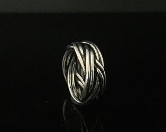 Wide Double Braided Sterling Ring // 925 Sterling Silver // Hand Braided Silver Ring