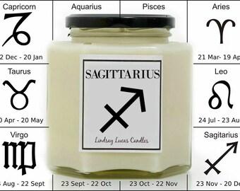 Sagittarius Candle, Star Sign Candle, Zodiac Candle, Horoscope Candle, Sagittarius Scented Candle, Candle, Gift For Sagittarius