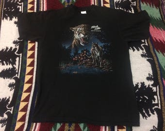 90s South Dakota Black Hills Mountain Lion Tshirt Size Large