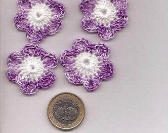 SET of 10 CROCHET cotton purple SCRAPBOOKING flowers