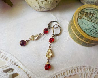 Victorian brass and red crystal earrings