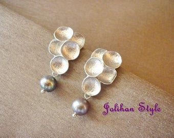 """Silver earrings """"Bubble"""" with black beads"""