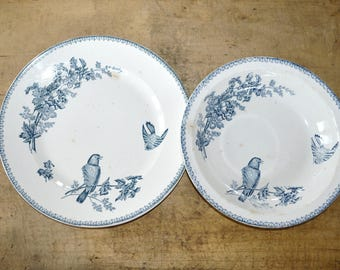 2 Platters Vintage French Ironstone - Longwy Ceramic Serving Dish - Mesange transfer motifs - Shabby Chic – French Country Decor
