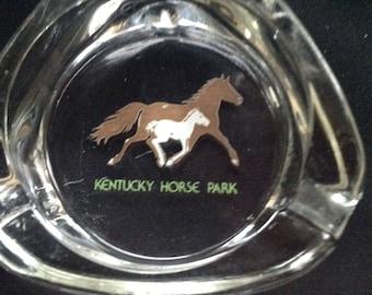Kentucky Horse Park Souvenir Ash Tray, advertising Triangle Glass Ashtray, Horse Racing, 1960, Lexington