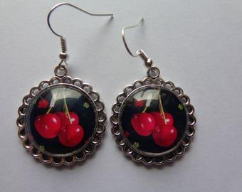 pair of earrings cabochob cherry earrings