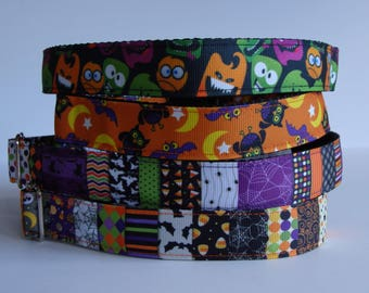 READY TO SHIP! Halloween Dog Collars - Monsters, Batty Hoots, Patchwork - Large