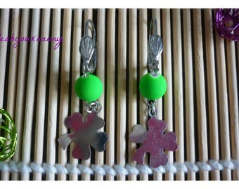 Clover earrings and neon green acrylic beads.