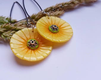 Earrings flowers of the fields gold handmade fimo jewelry Couleur-lavande