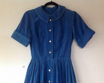 1950s Blue corduroy dress
