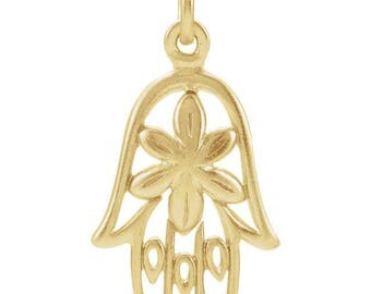 24K Gold Over Sterling Silver Hamsa Hand Floral Hawaii Charm Pendant for Your Own Charm Bracelet or Necklace