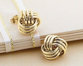 Classic Preppy 14k Gold 10.5 MM Ball Knot Design Stud Earrings