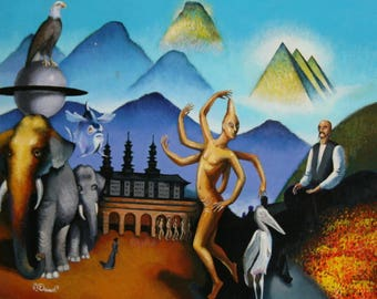 European art abstract figures oil painting landscape surrealism signed
