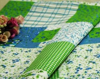 10 X fabric cotton linen Patchwork green white