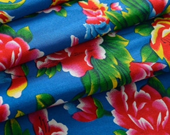 fabric Peony Chinese traditional Blue 10 m
