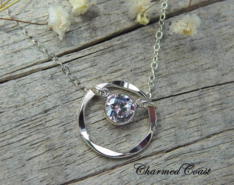 Single Diamond Necklace -Eternity and CZ Charm Pendant -Floating Diamond -Dainty Sterling Silver Minimal Necklace -Maid of Honor Sister Gift