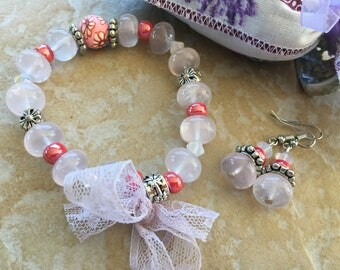 set romantic rose quartz and seed beads