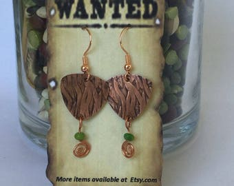 Triangular shaped copper earrings with Kingman Turquoise bead and spiral accent