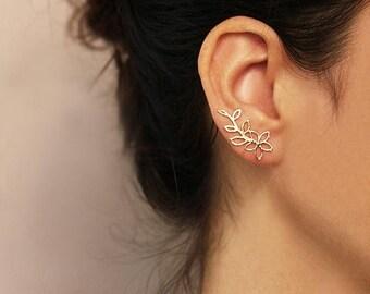 SUMMER SLE Gold flower ear cuff  , Gold or Silver,  Flower Ear Climber ,   Flower earrings , 18k Gold plated brass NICKEL Free  , Graduation