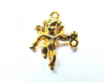20/30 MM SHINY GOLD CHERUB CONNECTOR PENDANT