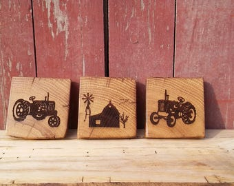 Barnwood FARM Coasters (set of 4)