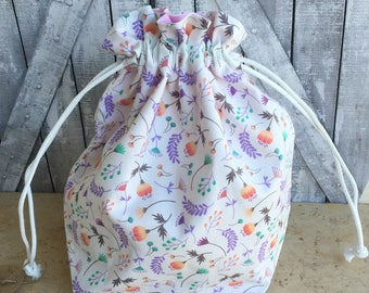 Spring Flowers Knitting Project Bag|Drawstring Project Bag|Spring Flowers Crochet Project Bag|Knitting Bag|Crochet Bag|Toad Hollow Bag