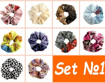 Free Shipping, Set Of 10, Scrunchies, Scrunchy, Chiffon Ponytail, Hair Accessories, Pony Tail Holder, Hair Wrap, Hair Ties, Ponytail Holder