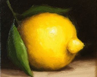 Lemon , Ready to Hang Original Oil Painting still life by Jane Palmer