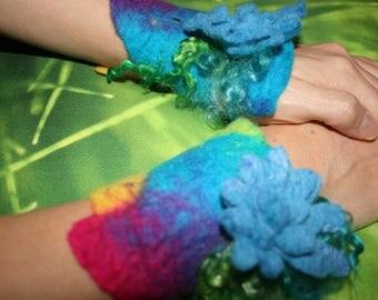 Wrist Warmers Cuffs. Woodland Folk Nymph Dreamy Felted Wrist Warmers. Arm cuffs. OOAK Wearable Art. Flowers. Pixie Fairy Accessory.