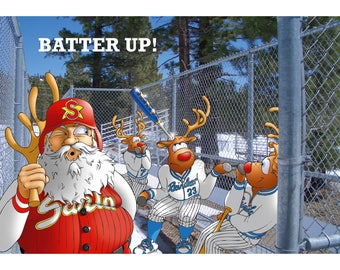 BASEBALL CHRISTMAS CARD - Batter up! Funny Christmas card