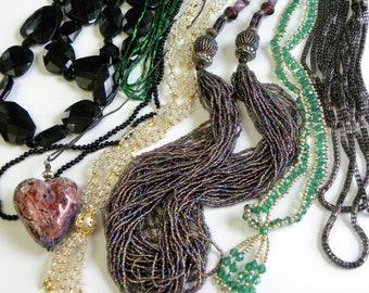 Vintage beaded necklace lot, vintage necklace lot, statement necklace lot, long vintage necklaces, vintage jewelry lot, estate necklaces