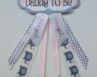 """Personalized (ANY NAME) Elephant-Themed """"It's A Girl!"""" Baby Shower Corsage Pin - (please message seller to personalize)"""