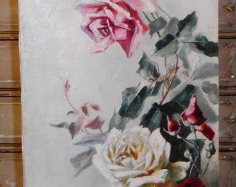 Antique~1900's Victorian ROSES Oil Painting~Still Life Rose on Canvas~Signed 1904~after Catherine Klein