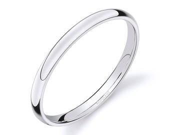 14k White Gold Band (2mm THIN) | PLAIN | Polished Rounded Dome + Comfort