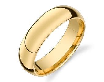 14k Yellow Gold Band (6mm) | PLAIN | Polished Rounded Dome + Comfort Fit | Men's Women's Wedding Ring Simple