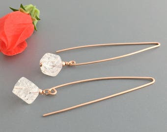 Crystal Earrings for Women - Rose Gold Earrings for Women - Long Dangle Earrings for Women - Long Earrings Fashion