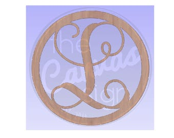 MONOGRAM initial - circle frame- Unfinished Wood Cutout - DIY - Wreath Accent, Door Hanger, Ready to Paint & Personalize