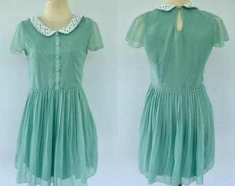 Vintage Green Dress, Chiffon Dress, Peter Pan Collar Dress, Short Dress, Party Dress, Size 8