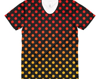 Women's Polkadot crew neck t-shirt, orange and yellow, apparel, clothing, original design, great gift idea