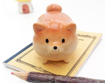 Barrel Shiba of paper weight with clear glaze  #BPC1  柴犬・工房しろ