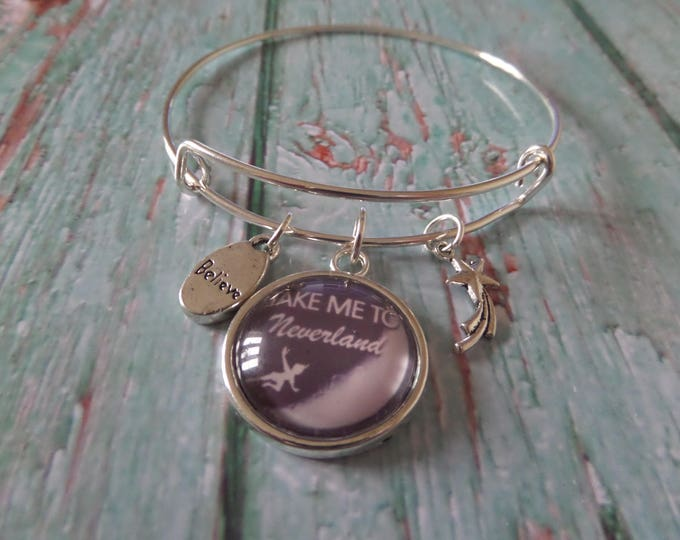 "PETER PAN inspired 20mm Glass Dome "" take me to neverland "" 65mm silver tone expandable bangle fan gift jewellery Uk"