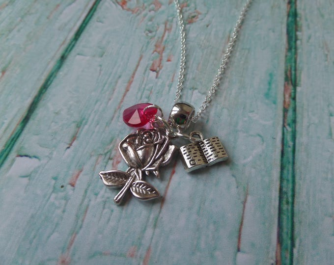 ONCE UPON A TIME tv series inspired charm tibetan silver charm necklace Belle Lacey French Beauty & the Beast fan gift Jewellery Uk