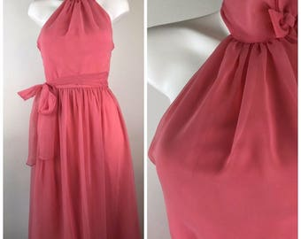 Vintage House Of Bianchi Evening Formal Gown Dress S Romantic Prom Choker