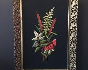 Needlework Picture ~ Floral Design ~ Gold Frame ~ Vintage