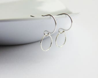 Simple minimal sterling silver textured hoop charm drop dangle earrings