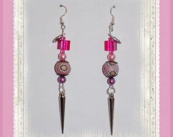 Original earrings! VIOLAROSE! plastic / Polymer purple T 8 cm belicious delicious creation