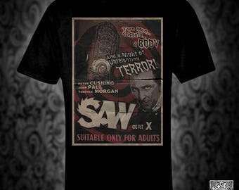 Saw- vintage style move poster t-shirt, horror retro film cushing