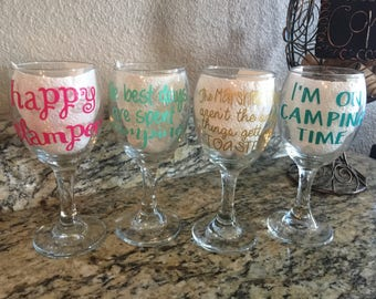 Camping set of 4 Wine Glass Decals Only