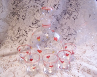 Crystal Decanter and Five Shot Glasses/Heart Decals