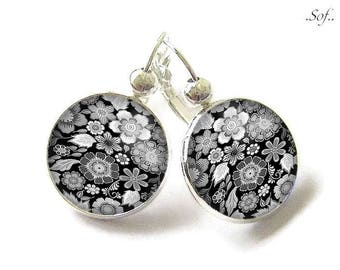Stud Earrings with cabochon 18 mm * flowers * (140117)